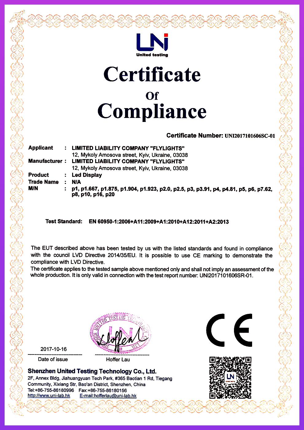 certificate Flylights